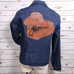 Wrangler Jean Jacket Mens 46L Leather Patch Vtg